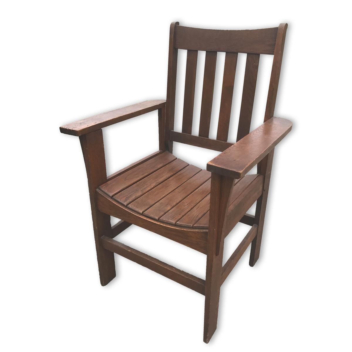 Antique Stickley Roycroft Era Arts U0026 Crafts Mission Oak Accent Parlor Chair    Image 2 Of
