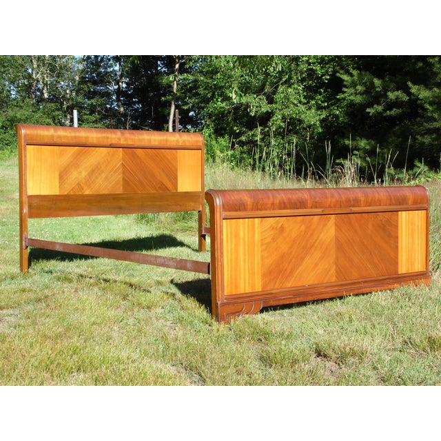 Vintage Art Deco Walnut Full Double Waterfall Bed For Sale - Image 10 of 12