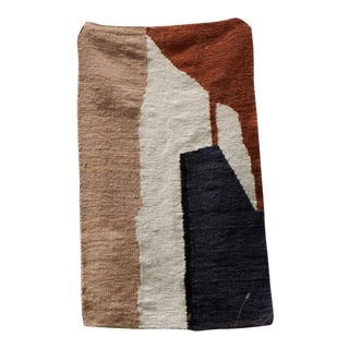 "Karu X Frances V. H. 'Abstract Landscape' Mohair Rug In Ivory & Brick Red - 48"" x 70"" For Sale"