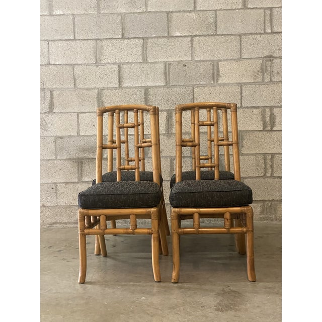 Wood Vintage Coastal Bamboo Grid Dining Chairs - Set of Four For Sale - Image 7 of 8