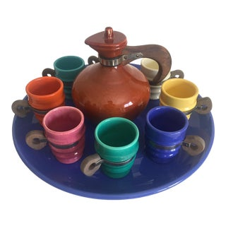 Metlox Poppy Trail Ceramic & Teak Beverage Serving Set For Sale