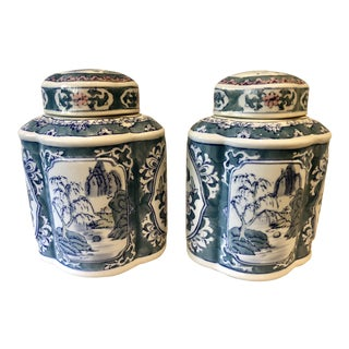 Chinoiserie Tea Jars, a Pair For Sale
