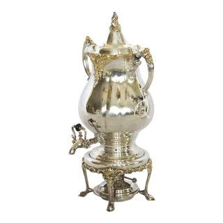 """Wallace """"Baroque"""" Silver W/ Gold Accents Water/Tea Urn W/Burner For Sale"""
