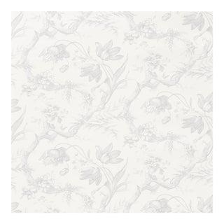 Schumacher Toile De Fleurs Wallpaper in Grisaille For Sale