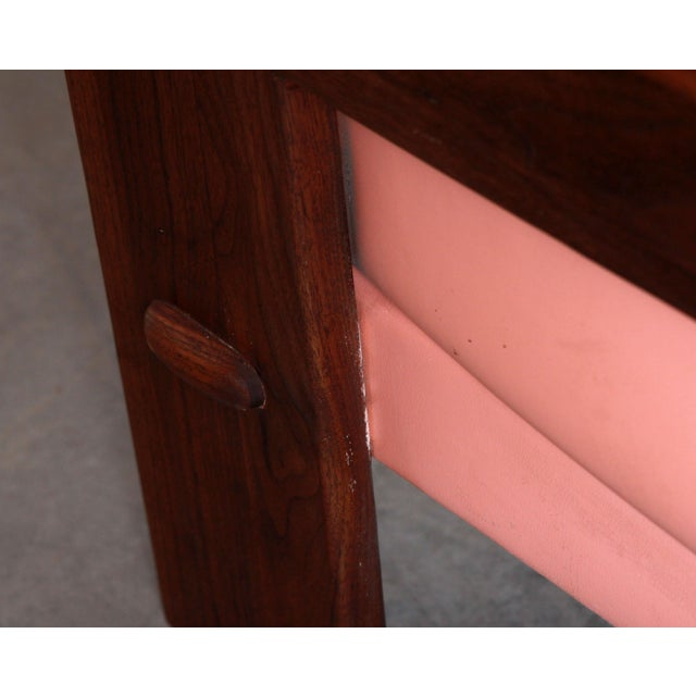 Pink Mid Century Modern Adrian Pearsall for Craft Associates Pink Vinyl & Walnut Sofa For Sale - Image 8 of 13
