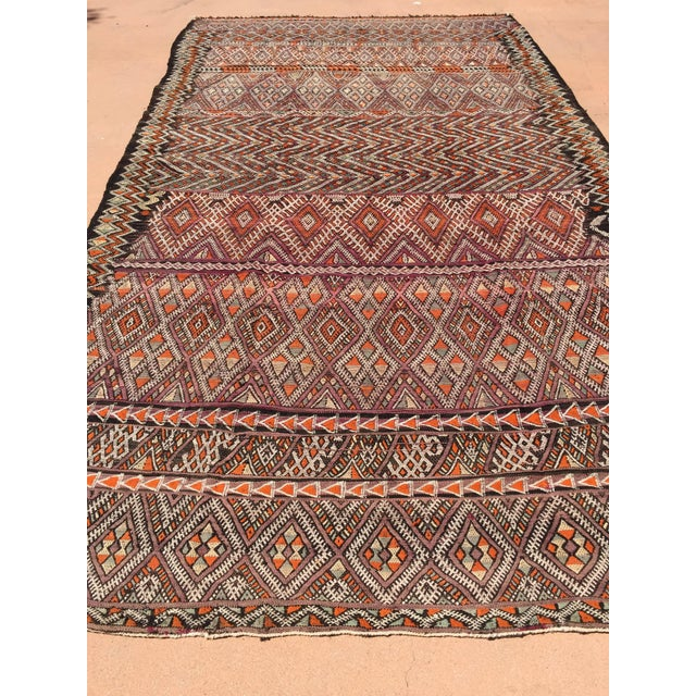 Vintage Moroccan Nomadic tribal African rug, black camel hair with wool and cotton embroidered geometrical Modernist...