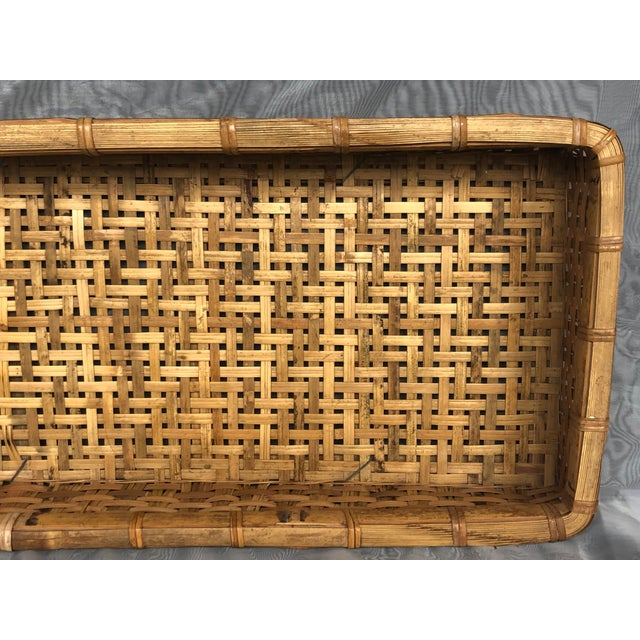 Brown Late 20th Century Large Woven Bamboo Tray Basket For Sale - Image 8 of 13
