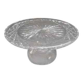 1940s Waterford Crystal Alana Comeragh Pattern Footed Cake Plate Stand For Sale