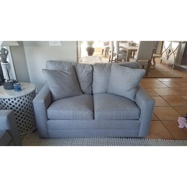 Lexington Bristol Grey Performance Fabric Loveseat & Couch Sofa - a Pair For Sale - Image 11 of 13