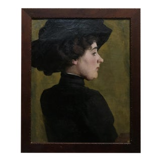 1910s Oil Painting Portrait of a Woman in Black by Marion Pooke For Sale