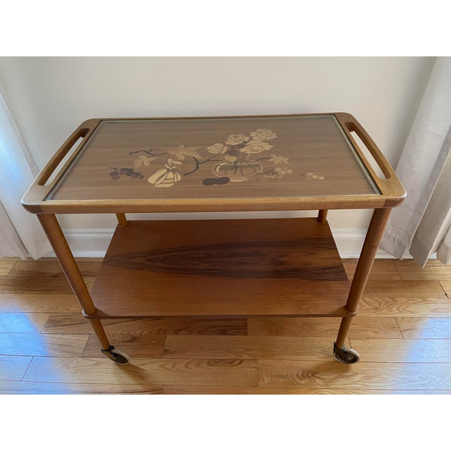 Mid 20th Century German Marquetry Tea Bar Cart For Sale - Image 4 of 10