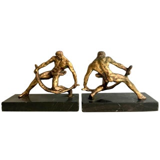 Pair of Gilt Sculptural Male Muscular Bookends For Sale