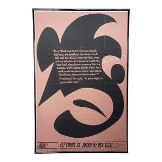 "1980 Aqui Magazine Conceptual Art Poster Print Freedom Issue 1 Cliff Baldwin 69"" For Sale"