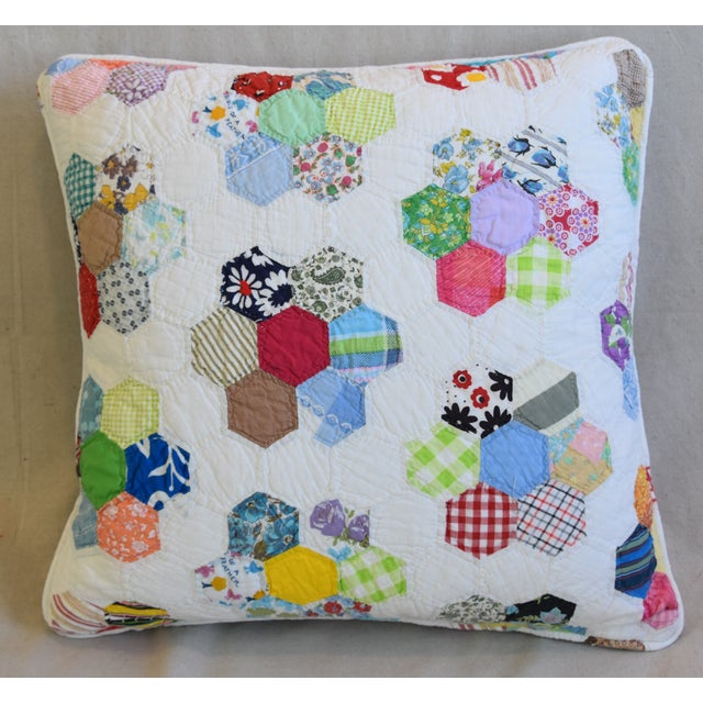 Custom-tailored reversible pillow created from a vintage American hand-stitched quilt. Same fabric on the back. Custom-...