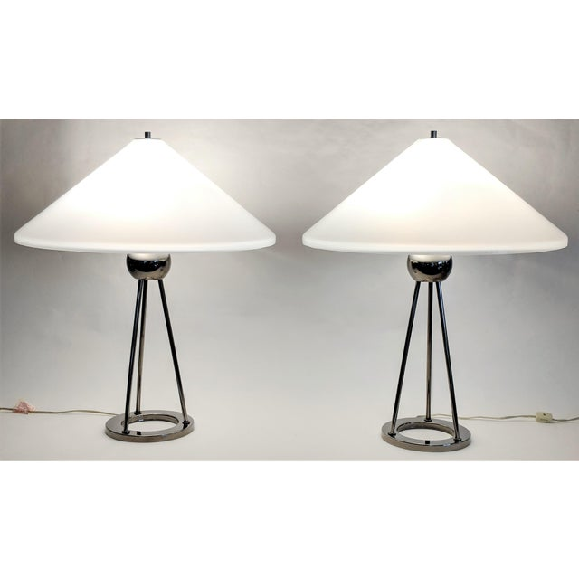 1970s Vintage Van Nessen Chrome and Lucite Table Lamps - A Pair For Sale - Image 13 of 13