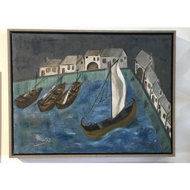 Original Framed Boats Oil Painting - Image 2 of 4