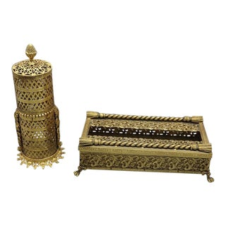 Antique Gold Ornate Vanity Set - a Pair For Sale