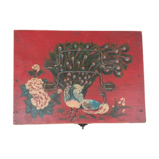 Asian Hand-Painted Vintage Keepsake Box For Sale