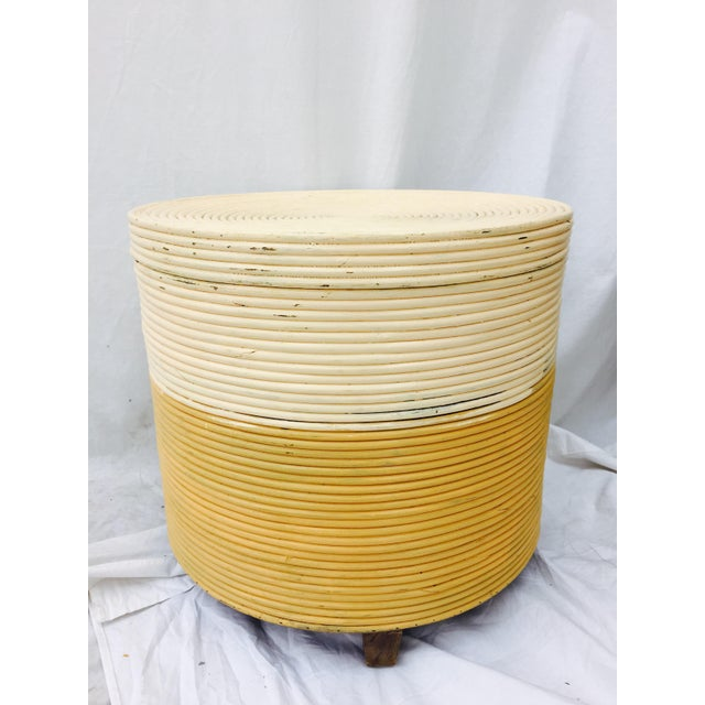 Vintage Wrapped Rattan Side Table with Storage - Image 5 of 8