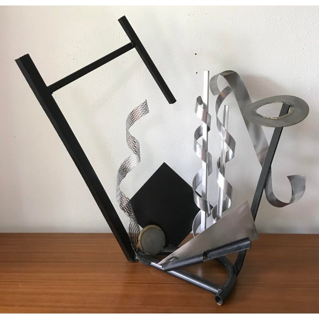 Beautiful mixed-metal abstract post-modern sculpture. The scale and composition of this piece makes for quite an impact....