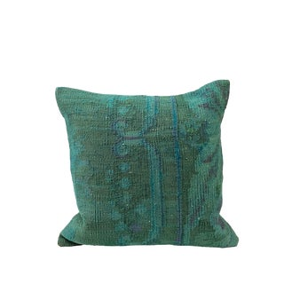 Boho Chic Menta Organic Kilim Pillow For Sale