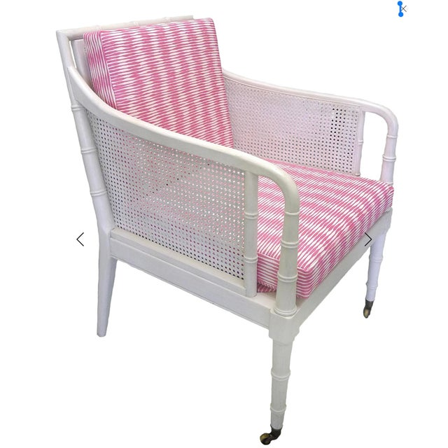 Super chic set, perfect for a small living room or bedroom. Pair of faux bamboo and caned armchairs. Newly painted in...