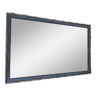 Antique Rectangular Mirror With Painted Blue Framing With Silver For Sale