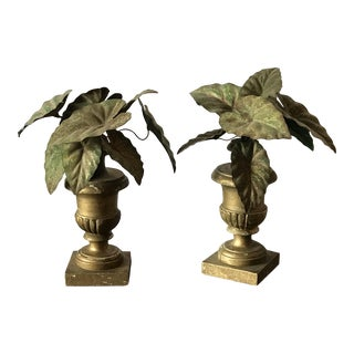 Early 20th Century Tole Philodendron Leaves in Carved Urns - a Pair For Sale