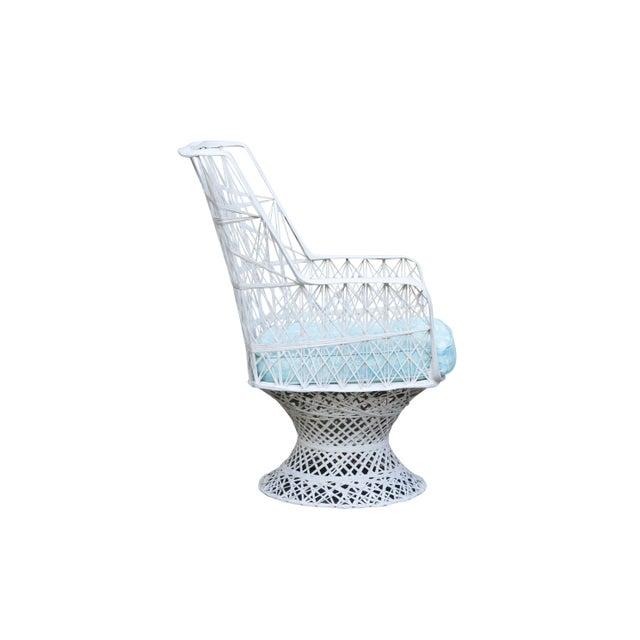 Blue Kravet Upholstered Russell Woodard Spun Fiberglass Patio Dining Set For Sale - Image 8 of 13