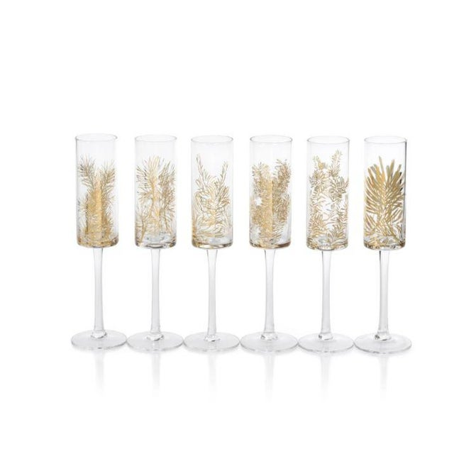 Contemporary Kenneth Ludwig Chicago Golden Fir Champagne Flutes - Set of 12 For Sale - Image 3 of 3