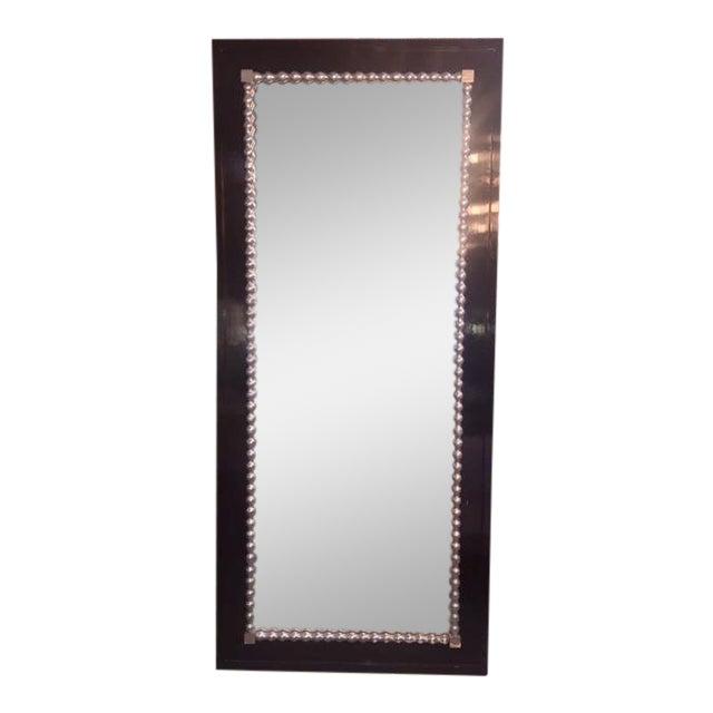 Black 1960s Vintage Black & Silver Leaf Mirror For Sale - Image 8 of 8