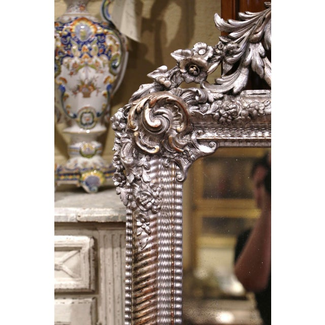 Mid-19th Century French Louis XV Hand Carved Silvered Wall Mirror For Sale - Image 4 of 11