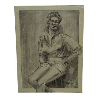 "Original Drawing Sketch ""Sitting Pretty"" by Tom Sturges Jr., 1959"