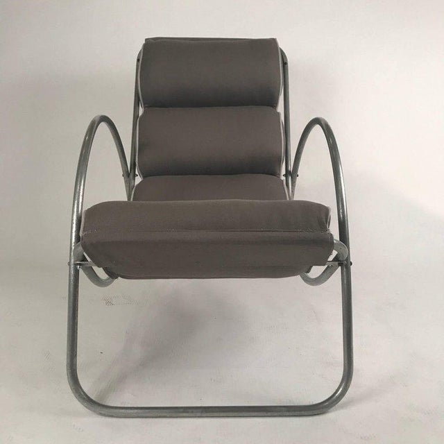 Gray Pair of Halliburton Lounge Chairs, 1930s Art Deco Machine Age Modernist Design For Sale - Image 8 of 10