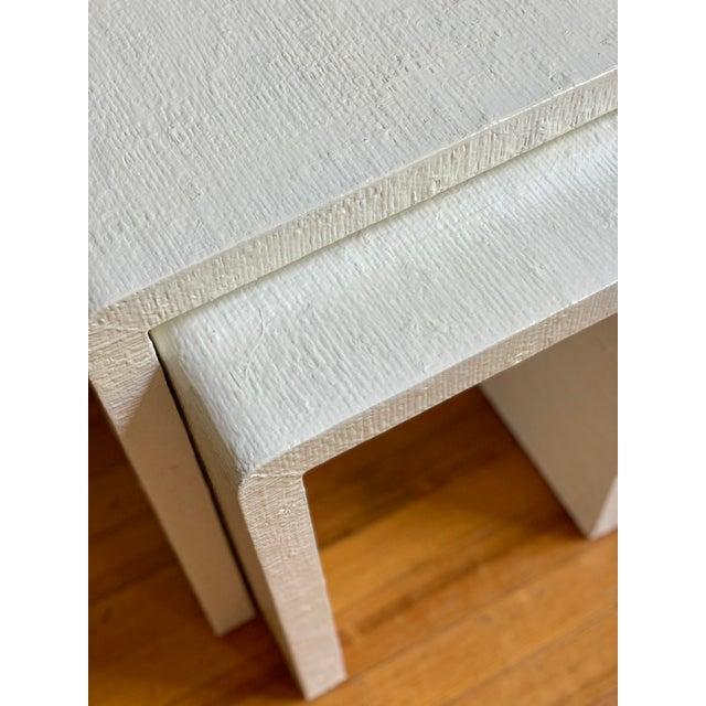 Grasscloth Raffia Nesting Tables - 2 Pieces For Sale - Image 11 of 12