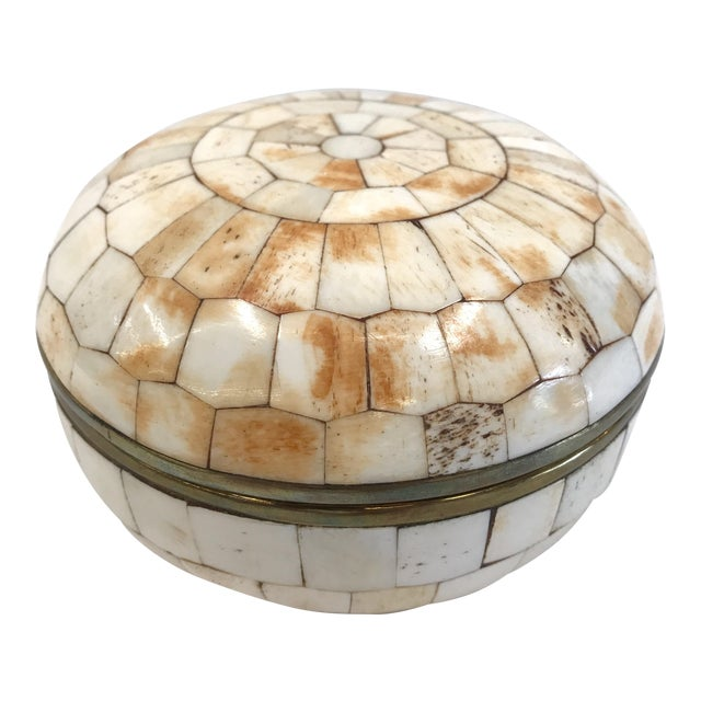 Vintage Trinket Box Tessellated Bone Over Brass - Image 1 of 6