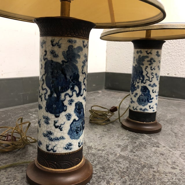 Design Plus Gallery presents a pair of table lamps fashioned from antique Ming dynasty vases. The mid-century style...