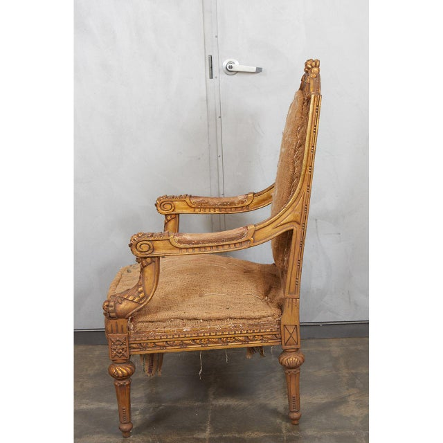 Pair Louis XVI Style Armchairs For Sale In Los Angeles - Image 6 of 8