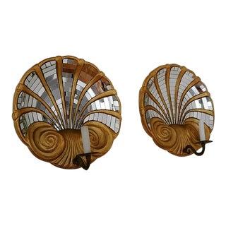 Vintage 1950s Wood Seashells Light Fixtures - a Pair For Sale