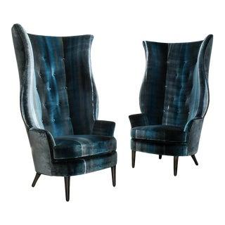Aspire Show House Custom Bjork Studio Chairs in Artisanal Dyed Velvet - a Pair