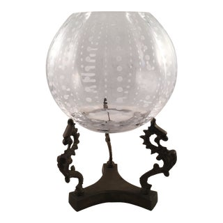 Glass Sphere With Brass Decorative Base Vase / Bowl For Sale