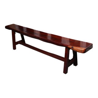 Vintage Mingei Style Backless Long Wooden Bench Made of Railroad Ties For Sale