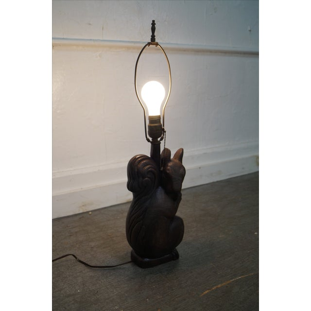 Romweber Rare Oak Carved Squirrel Table Lamp - Image 3 of 10