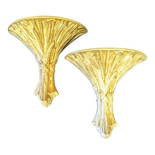 A Pair Vintage Mid Century Modern MCM Ethan Allen Sheaf of Wheat Large Wall Sconce Pockets For Sale
