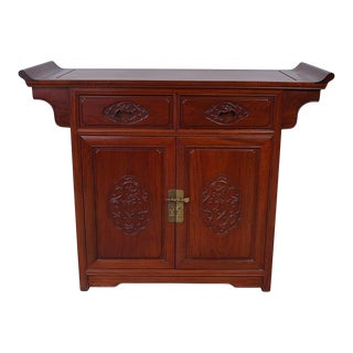 1950s Chinese Rosewood Altar Cabinet Sideboard For Sale