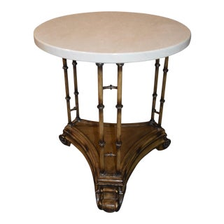 1980s Tuscan Round Marble Top & Metal Side Table For Sale