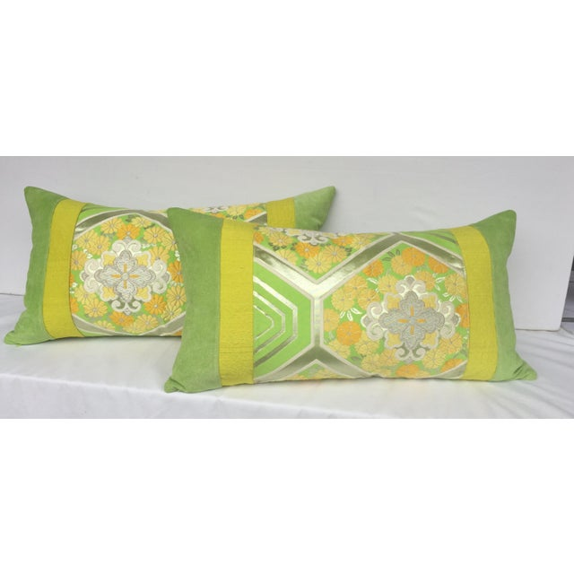 Green Japanese Obi Pillows - A Pair - Image 3 of 4