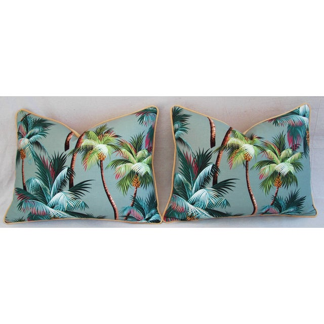 "Cotton Oasis Palm Tree Barkcloth Feather/Down Pillows 24"" X 18"" - Pair For Sale - Image 7 of 11"