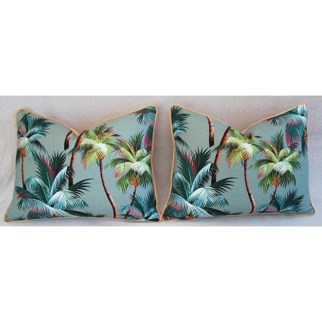 Oasis Palm Tree Barkcloth Pillows - Pair - Image 7 of 11