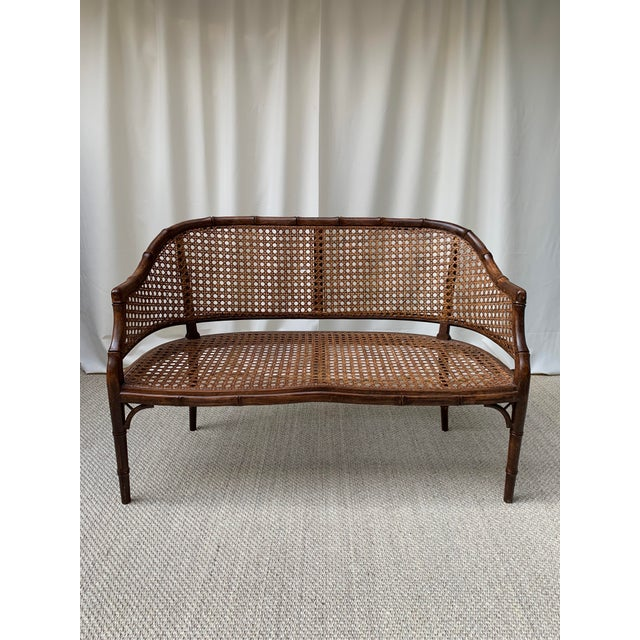 Mid 20th Century Hollywood Regency Chippendale Style Faux Bamboo and Cane Settee For Sale - Image 10 of 10